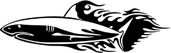 Flaming Shark Mascot graphic vinyl decal. Customize on line. animal-flames-0035b
