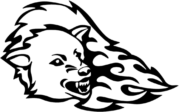 Flaming Cougar vinyl graphic decal customized on line. Great Mascot!  animal-flames-0036b