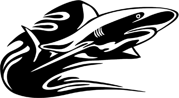 Flaming Shark vinyl decal.  Possible Mascot!  Customize on line. animal-flames-0037b