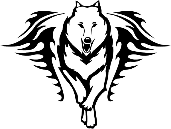 Wolf in Flames Mascot vinyl graphic sticker customize on line. animal-flames-0039b