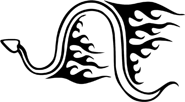 Flaming Rattlesnake Mascot vinyl action sticker. Personalize on line. animal-flames-0040b