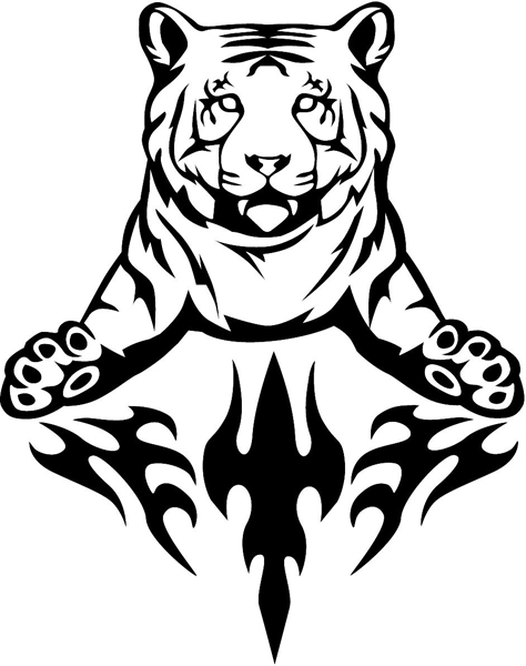 Flaming Tiger Mascot vinyl graphic decal customized on line as you order. animal-flames-0045b