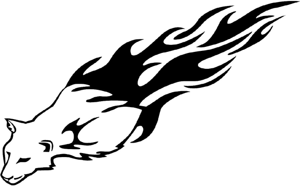 Flaming Wildcat Mascot vinyl sticker. Customize on line. animal-flames-0059b
