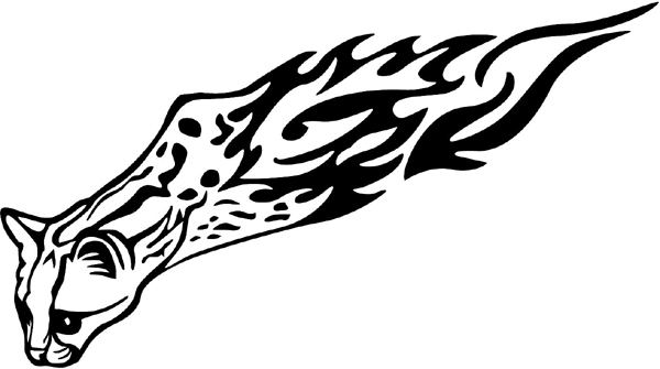 Flaming Wildcat Mascot vinyl graphic decal you can customize on line. animal-flames-0080b