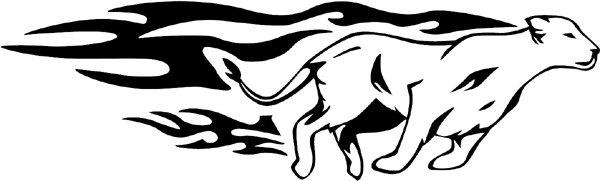 Cougar Flames vinyl sticker. Great Mascot! Personalize on line. animal-flames-0084b