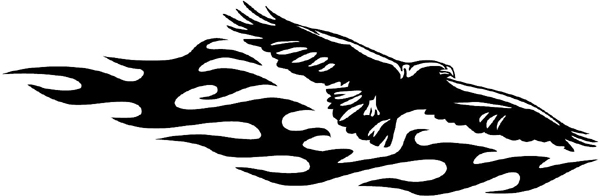 Eagle over flames vinyl sticker. A Mascot? Customize on line. animal-flames-0097b