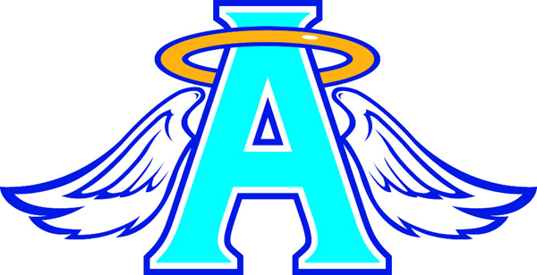 Angels symbol mascot sports decal. Letter A with halo and wings!