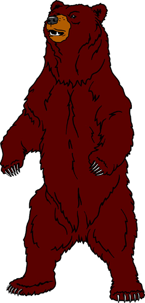 Bear team mascot color vinyl sports decal. Make it your own! Bear 2