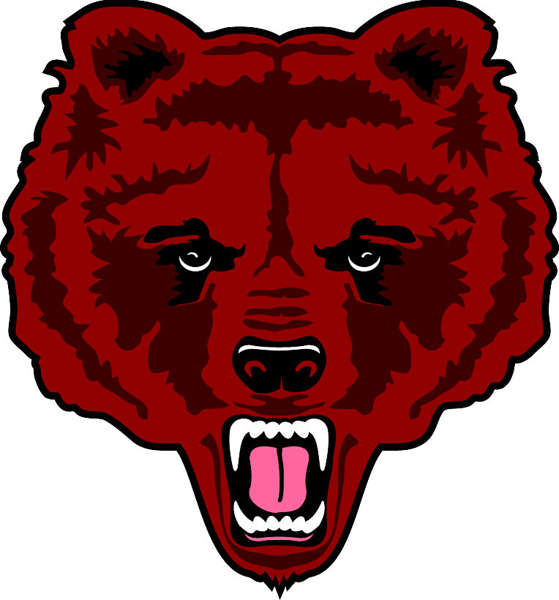 Bear Head team mascot color vinyl sports decal. Make it yours! Bear Head 2