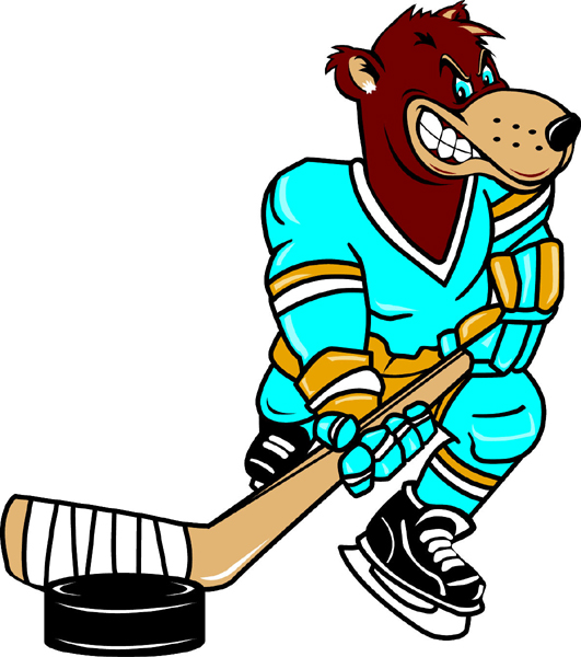 Bear hockey player team mascot full color vinyl sports sticker. Customize on line. Bear Hockey