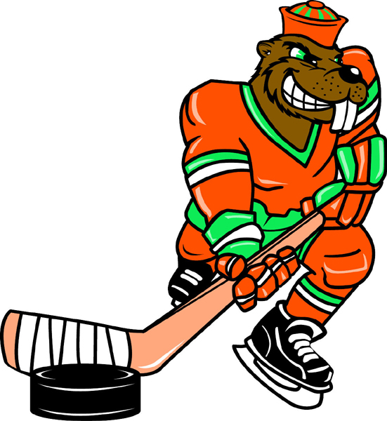 Beaver hockey player team mascot color vinyl sports sticker. Customize on line. Beaver Hockey