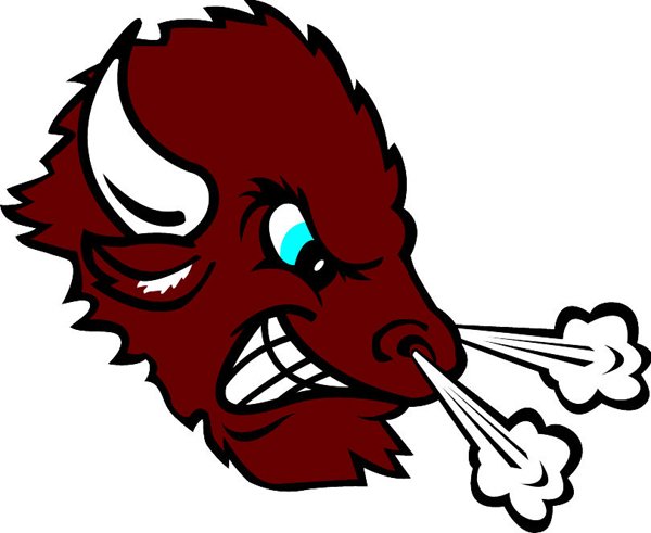 Bison head team mascot color vinyl sports sticker. Customize on line. Bison 1 head