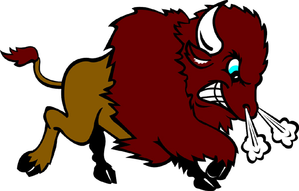 Bison team mascot color vinyl sports decal. Personalize on line. Bison 1