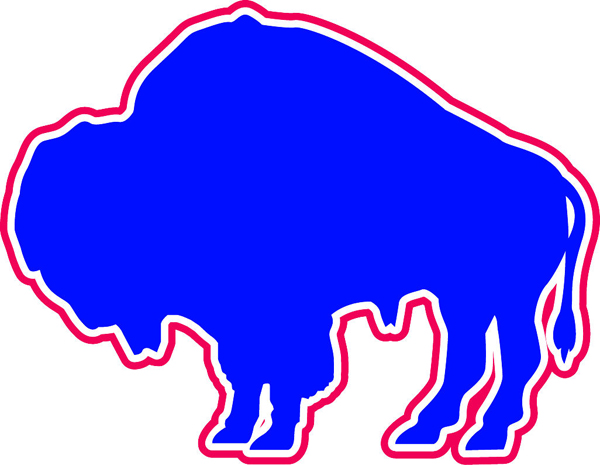 Bison team mascot red, white and blue vinyl sports sticker. Customize on line. Bison 2