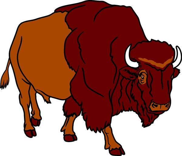 Bison team mascot full color vinyl sports sticker. Customize on line. Bison 3