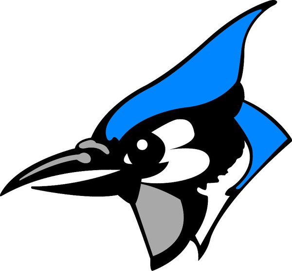 Blue Jay mascot team sports decal. Display team spirit!