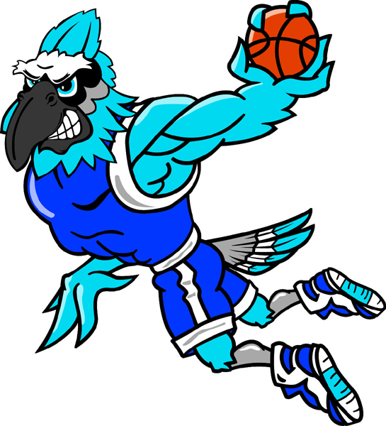 Blue Jay basketball player mascot full color vinyl sports sticker. Customize on line. Blue Jay Basketball