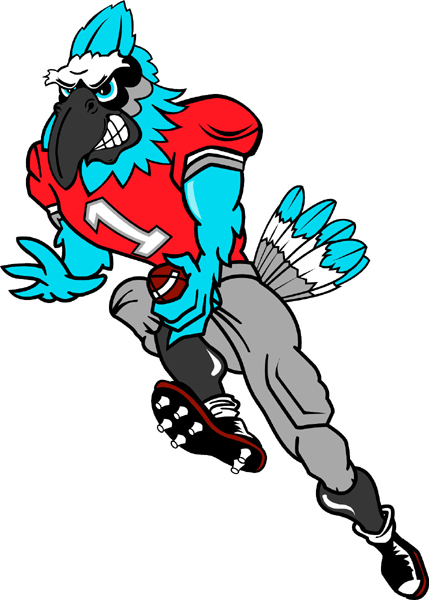 Blue Jay football player team mascot full color vinyl sports decal.  Make it personal! Blue Jay Football