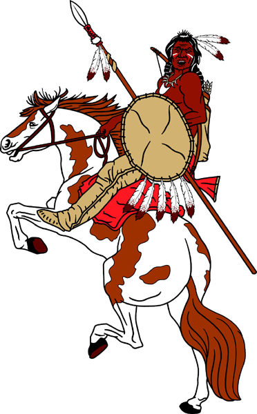 Brave on horse team mascot full color vinyl sports sticker. Personalize on line. Brave on Horse