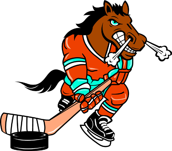 Bronco Hockey mascot sports sticker. Reflect team spirit!