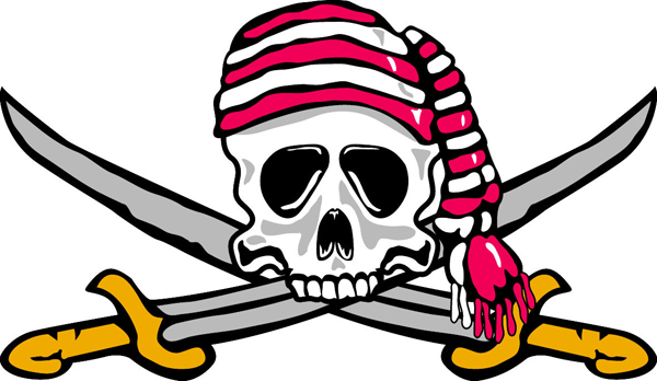 Buccaneer team mascot color vinyl sports decal. Personalize on line. Buccaneer 1
