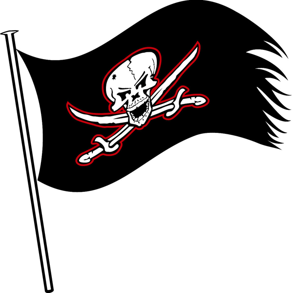 Buccaneer's Flag vinyl sports decal. Customize on line. Buccaneer Flag