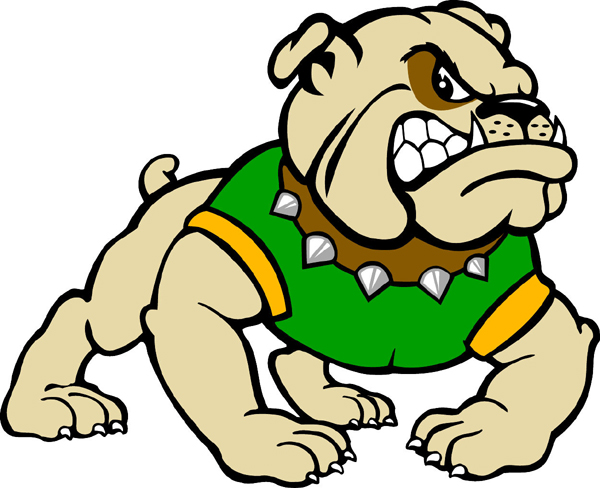 Bull Dog 1 mascot team sticker. Personalize your team pride!