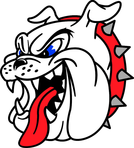 Bulldog head team mascot full color vinyl sports decal. Customize on line. Bull Dog Head 2