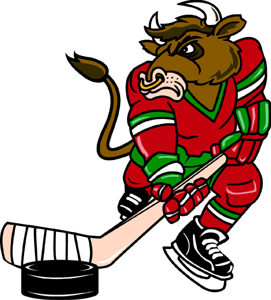 Bull mascot Hockey team decal. Make it yours!