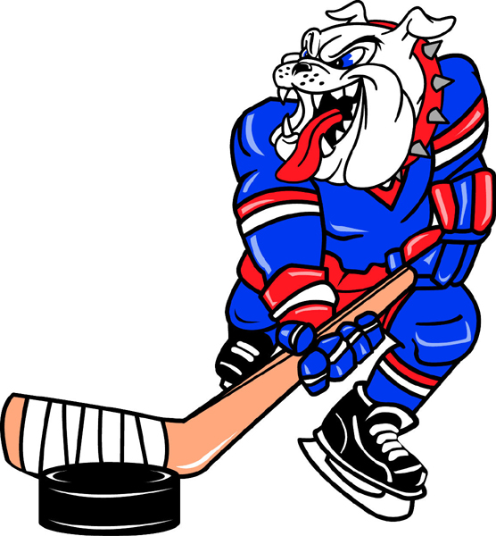 Bulldog hockey player team mascot color vinyl sports decal. Make it yours! Bulldog Hockey 2