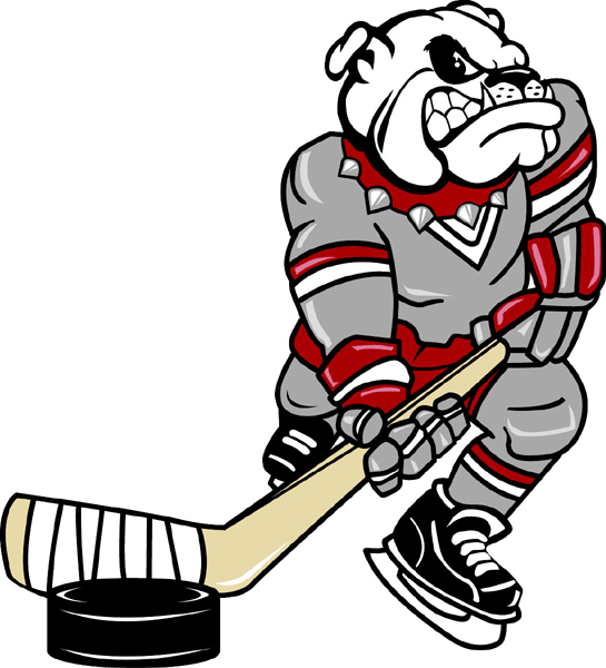 Bulldog hockey player mascot color vinyl sports decal. Personalize on line.  Bulldog Hockey