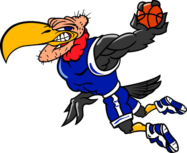 Buzzard mascot Basketball player team sticker. Show team pride!