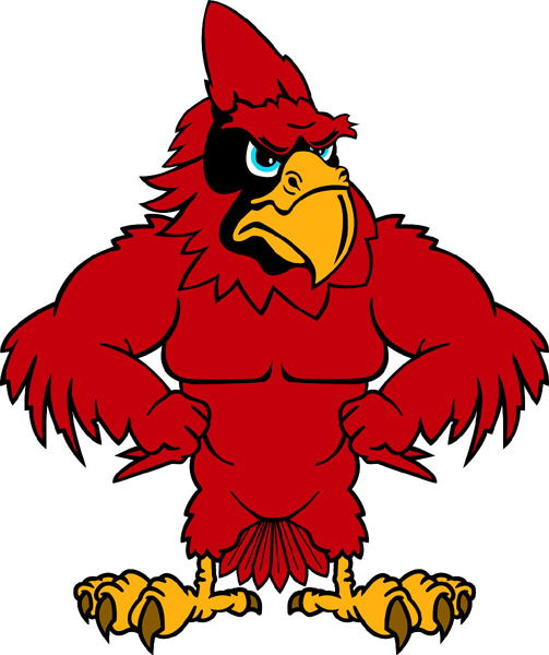 Cardinal team mascot color vinyl sports decal. Personalize on line. Cardinal 4