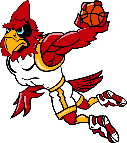 Cardinal basketball player mascot full color vinyl sports sticker. Customize on line. Cardinal Basketball