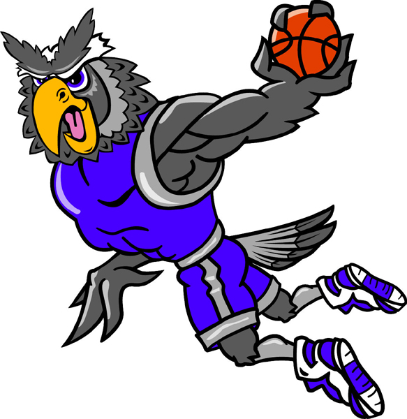 Owl basketball player team mascot color vinyl sports decal. Make it uniquely your own! Owl Basketball
