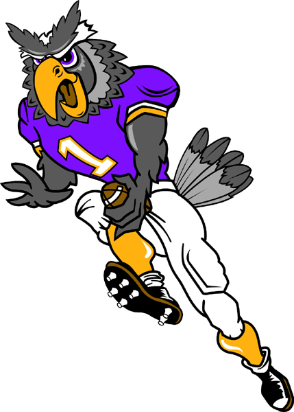 Owl football player team mascot color vinyl sports sticker. Personalize as you order. Owl Football