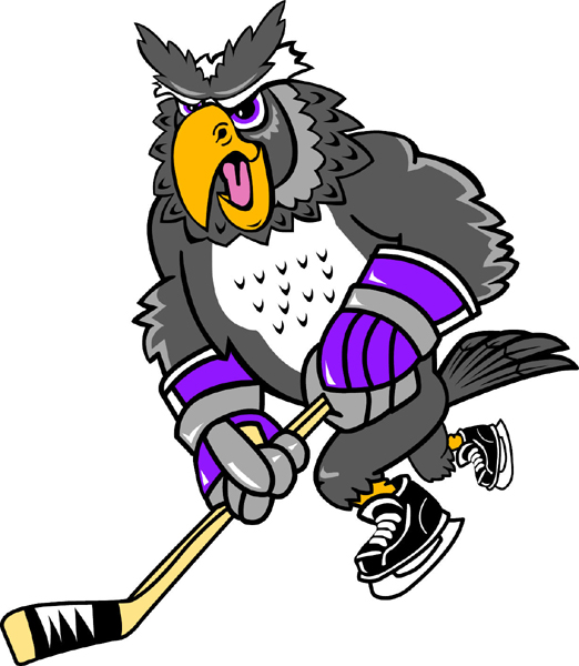 Owl hockey player team mascot color vinyl sports decal. Personalize on line. Owl Hockey