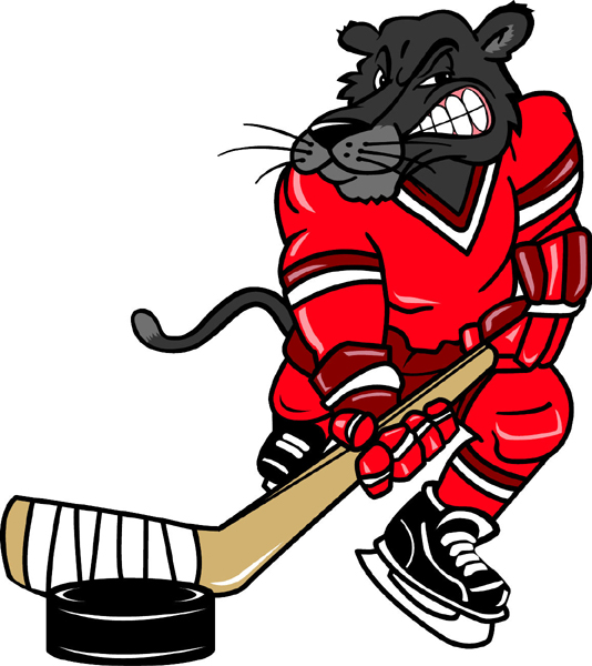 Panther hockey player team mascot color vinyl sports decal. Customize on line.