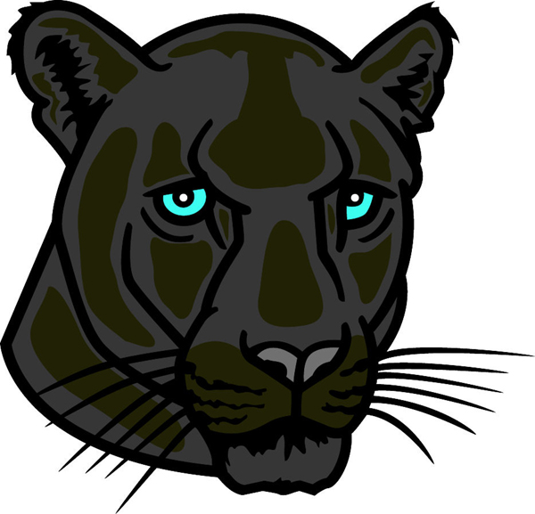 Panther head team mascot color vinyl sports decal. Make it personal! Panther head