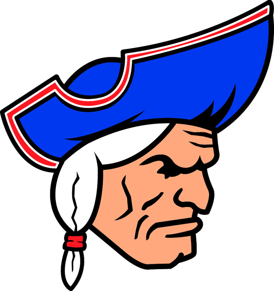 Patriot team mascot full color vinyl sports sticker. Customize on line. Patriot 1