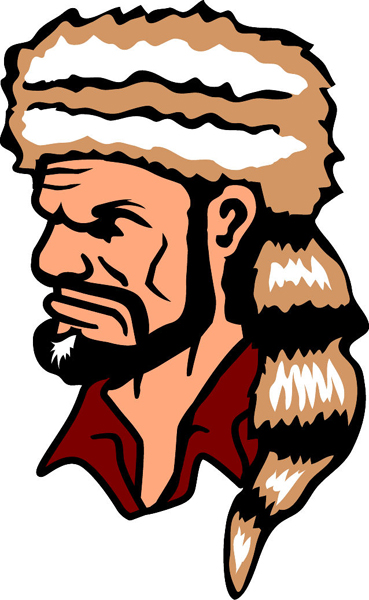 Pioneer mascot full color vinyl sports sticker. Customize on line. Pioneer 1