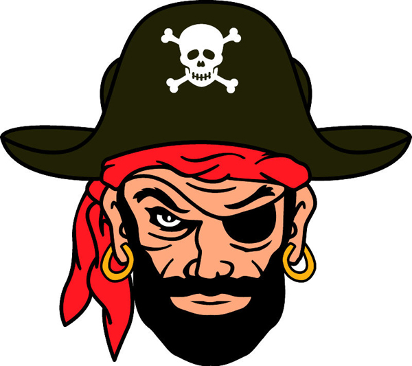 Pirate team mascot color vinyl sports decal. Personalize on line. Pirate 2