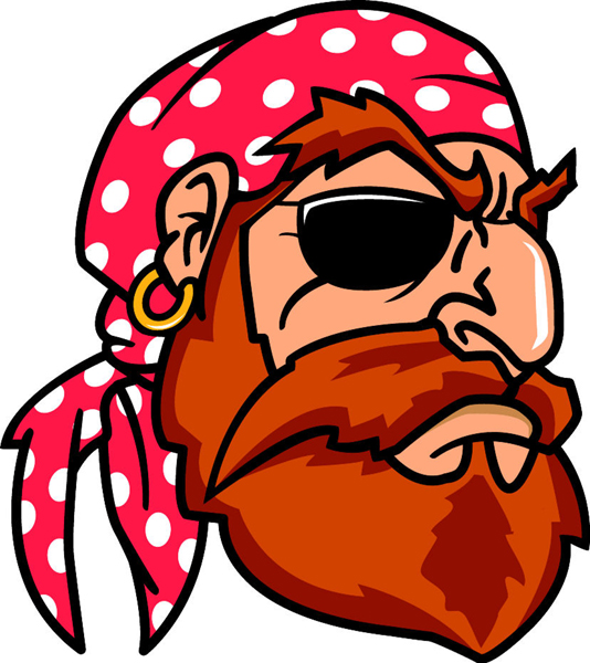 Pirate full color mascot vinyl sports sticker. Customize on line. Pirate 3