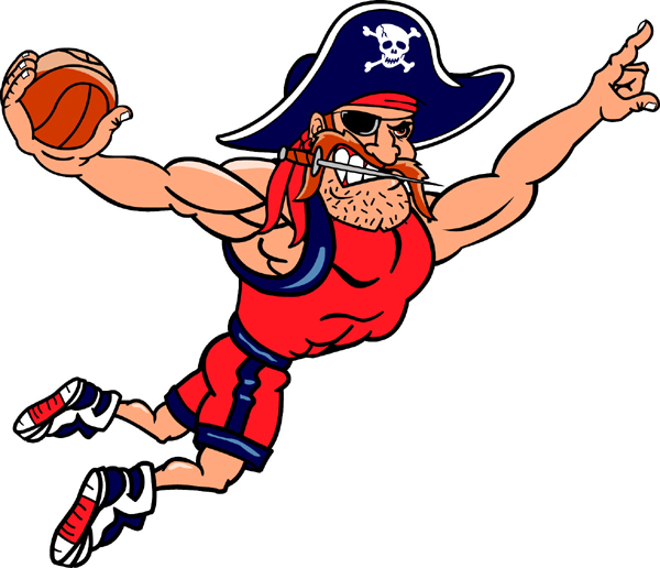 Pirate Basketball team mascot sports decal. Customize to display team spirit!