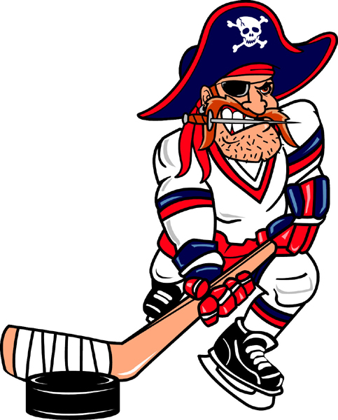 Pirate hockey player team mascot color vinyl sports sticker. Make it your own! Pirate Hockey