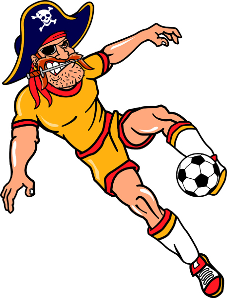 Pirate soccer player team mascot color vinyl sports sticker. Customize on line. Pirate Soccer