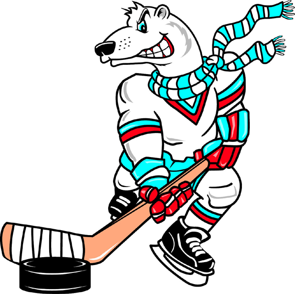 Polar Bear mascot Hockey team decal. Display your team pride!