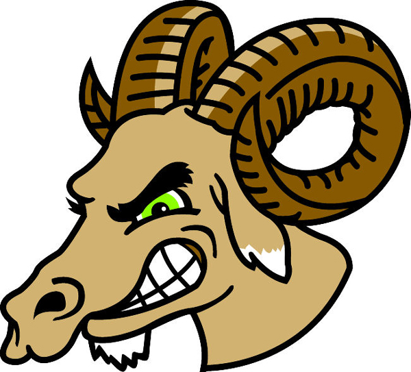 Ram Head 2 mascot team sticker. Reflect team spirit!