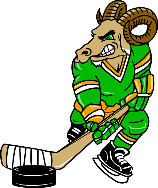 Ram hockey player team mascot full color vinyl sports decal. Customize on line. Ram Hockey