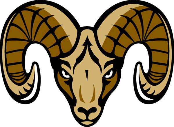 Ram head team mascot color vinyl sports decal. Customize on line. Ram head